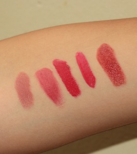 Left to right: Make Your Move, Tulip, Quince, Strawberry Jam, Firm Pink