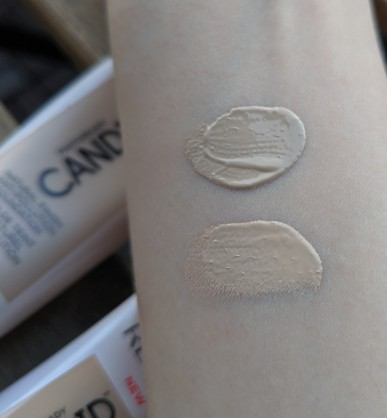 Top: foundation, Bottom: concealer